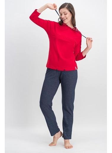 Arnetta Arnetta Cobbler Ekose Basic Kırmızı Kadın Kapüşonlu Eşofman Takımı Kırmızı